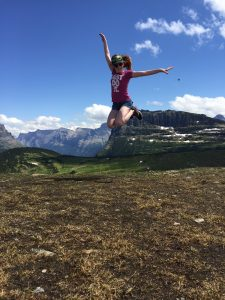 Meredith Girls at top of Glacier National Park 6900 ft elev